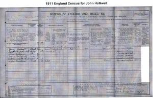 1911 UK Census for John Halliwell